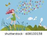 healthy woman breathing in a... | Shutterstock .eps vector #608133158