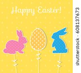 easter paper decoration in the... | Shutterstock .eps vector #608137673