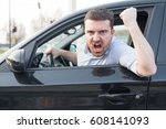 rude man driving his car and... | Shutterstock . vector #608141093