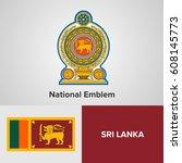 sri lanka national emblem and...   Shutterstock .eps vector #608145773