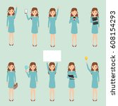 set of business woman character ... | Shutterstock .eps vector #608154293
