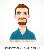 cute bearded men in a casual... | Shutterstock .eps vector #608155010