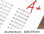 final exam marked with a  with... | Shutterstock . vector #608159144