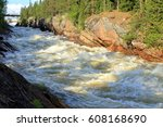 a whitewater river rapids... | Shutterstock . vector #608168690