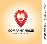red spoon and fork pin locator... | Shutterstock .eps vector #608172740