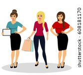 collection of girls. a modern... | Shutterstock .eps vector #608181170