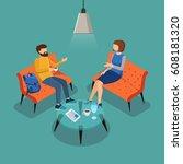 coffee break. couple...   Shutterstock .eps vector #608181320