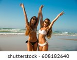 beautiful girls in a summer day ... | Shutterstock . vector #608182640