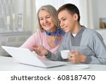 grandmother with grandson... | Shutterstock . vector #608187470