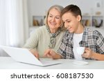 grandmother with grandson... | Shutterstock . vector #608187530