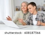 grandmother with grandson... | Shutterstock . vector #608187566
