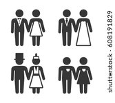 couple getting married icons... | Shutterstock .eps vector #608191829