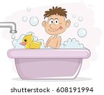 vector illustration of a boy in ... | Shutterstock .eps vector #608191994