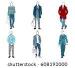vector illustration of six... | Shutterstock .eps vector #608192000