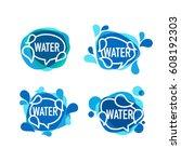 natural water  vector logo ... | Shutterstock .eps vector #608192303
