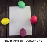 four easter eggs with blank... | Shutterstock . vector #608194373
