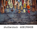 various of spices and herbs in... | Shutterstock . vector #608198408