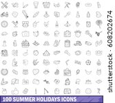 100 summer holidays icons set... | Shutterstock .eps vector #608202674