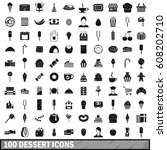 100 dessert icons set in simple ... | Shutterstock .eps vector #608202710