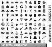 100 restaurant icons set in... | Shutterstock .eps vector #608202884