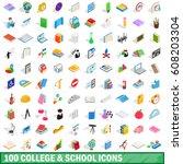 100 school icons set. isometric ...