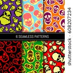 seamless patterns set. skull... | Shutterstock .eps vector #608207234