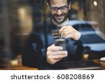happy hipster guy with smile... | Shutterstock . vector #608208869