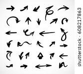 hand drawn arrows  vector set | Shutterstock .eps vector #608217863