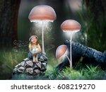 little girl fairy in a magical... | Shutterstock . vector #608219270