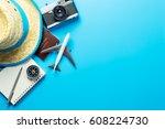 summer travel blogger... | Shutterstock . vector #608224730