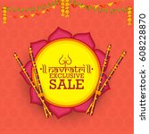navratri dandiya celebration... | Shutterstock .eps vector #608228870