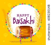 illustration of happy baisakhi... | Shutterstock .eps vector #608230148