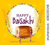 illustration of happy baisakhi... | Shutterstock .eps vector #608230148