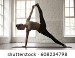 young yogi woman practicing...   Shutterstock . vector #608234798