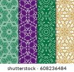 set of geometric ornament on... | Shutterstock .eps vector #608236484