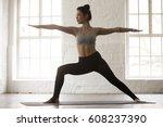 young yogi woman practicing... | Shutterstock . vector #608237390