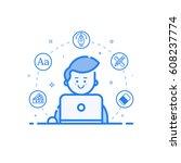 vector illustration of blue... | Shutterstock .eps vector #608237774