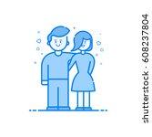 vector illustration of blue... | Shutterstock .eps vector #608237804