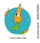 so the adventure begins. bunny... | Shutterstock .eps vector #608249084