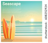 seascape background with... | Shutterstock .eps vector #608252924