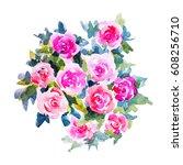 watercolor flowers illustration.... | Shutterstock . vector #608256710