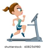 fitness. sports girl running on ... | Shutterstock .eps vector #608256980