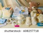set of accessories for baby ...   Shutterstock . vector #608257718