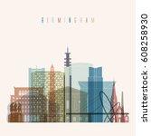 transparent style birmingham... | Shutterstock .eps vector #608258930