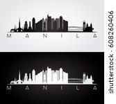 manila skyline and landmarks... | Shutterstock .eps vector #608260406