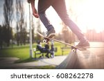 skater dropping in ramp at... | Shutterstock . vector #608262278