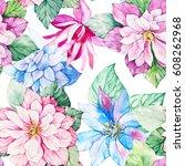 watercolor floral botanical...   Shutterstock . vector #608262968