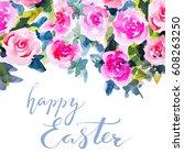 flower card for holidays... | Shutterstock . vector #608263250