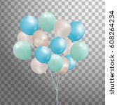 set of 3d  silver  blue  green... | Shutterstock . vector #608264234