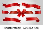 set of red ribbons on gray... | Shutterstock .eps vector #608265728